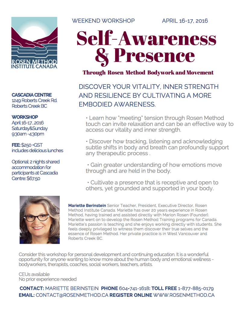 Self-Awareness and Presence April 2016